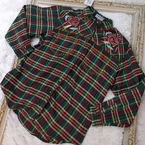 Vintage 1970s 1980s Embroidered Flannel Shirt NWT